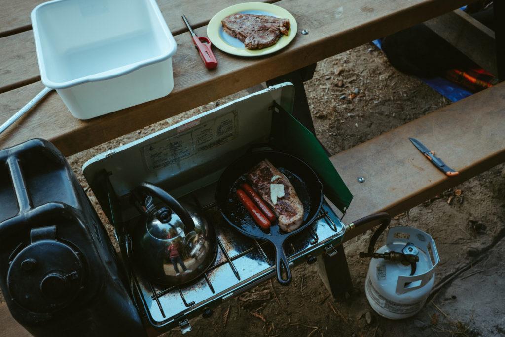 Zero carb steak sausage dinner